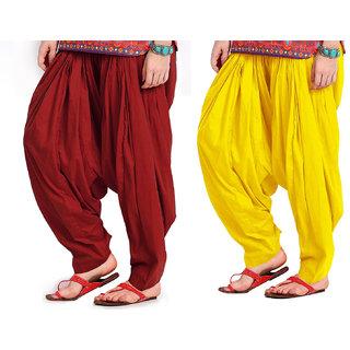 Combo Maroon n Yellow Patiyala Salwar