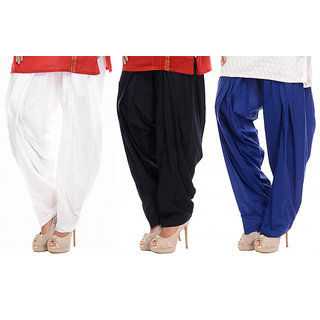 Combo - Black/White/Blue Patiala Salwar