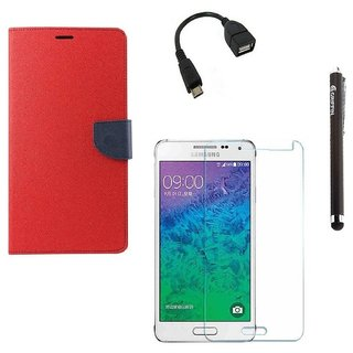 Ygs Diary Wallet Case Cover  For   Samsung Galaxy J3-Red With Tempered Glass ,Micro Otg  And Griffin Stylus Pen