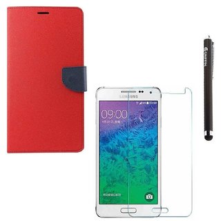 Ygs Diary Wallet Case Cover  For   Samsung Galaxy J3-Red With Tempered Glass  And Griffin Stylus Pen