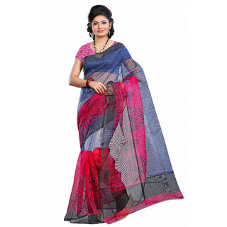 Varanga Multicolor Net Self Design Saree With Blouse