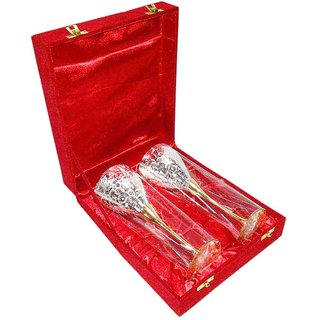 decorifyMe Gift Set of Silver Gold Plated Goblets Wine Glass Embossed With Flora