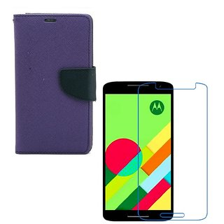 Ygs Diary Wallet Case Cover  For   Motorola Moto X Play-Purple With Tempered Glass