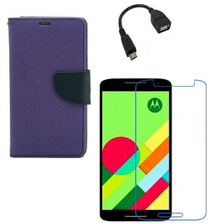 Ygs Diary Wallet Case Cover  For   Motorola Moto X Play-Purple With Tempered Glass ,Micro Otg