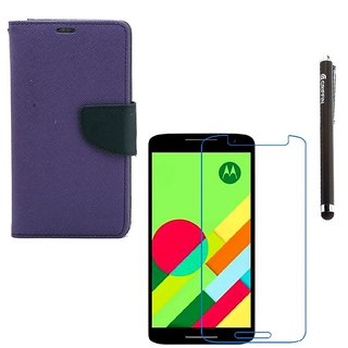 Ygs Diary Wallet Case Cover  For   Motorola Moto X Play-Purple With Tempered Glass  And Griffin Stylus Pen