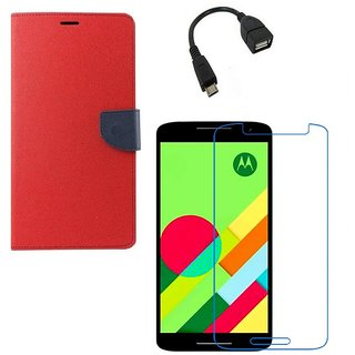 Ygs Diary Wallet Case Cover  For   Motorola Moto X Play-Red With Tempered Glass ,Micro Otg