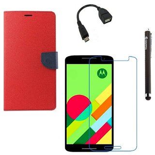 Ygs Diary Wallet Case Cover  For   Motorola Moto X Play-Red With Tempered Glass ,Micro Otg  And Griffin Stylus Pen