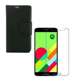 Ygs Diary Wallet Case Cover  For   Motorola Moto X Play-Black  With Tempered Glass