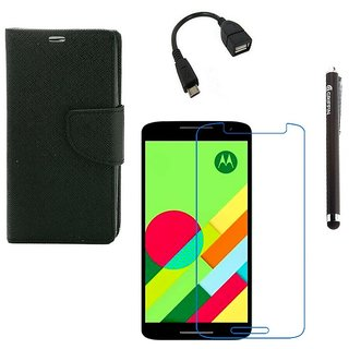 Ygs Diary Wallet Case Cover  For   Motorola Moto X Play-Black  With Tempered Glass ,Micro Otg  And Griffin Stylus Pen