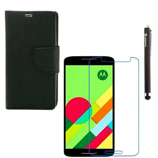 Ygs Diary Wallet Case Cover  For   Motorola Moto X Play-Black  With Tempered Glass  And Griffin Stylus Pen
