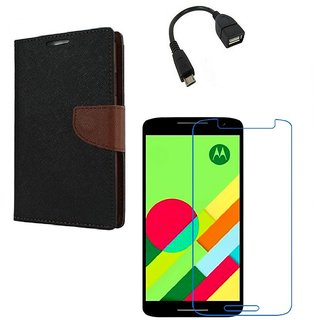 Ygs Diary Wallet Case Cover  For   Motorola Moto X Play-Black Brown With Tempered Glass ,Micro Otg