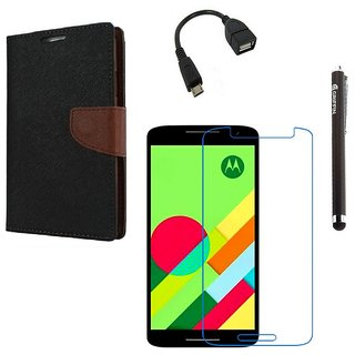Ygs Diary Wallet Case Cover  For   Motorola Moto X Play-Black Brown With Tempered Glass ,Micro Otg  And Griffin Stylus Pen
