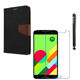 Ygs Diary Wallet Case Cover  For   Motorola Moto X Play-Black Brown With Tempered Glass  And Griffin Stylus Pen