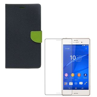 Ygs Diary Wallet Case Cover  For  Sony Xperia Z3-Blue With Tempered Glass