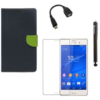 Ygs Diary Wallet Case Cover  For  Sony Xperia Z3-Blue With Tempered Glass ,Micro Otg  And Griffin Stylus Pen