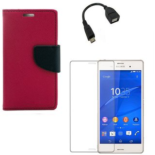 Ygs Diary Wallet Case Cover  For  Sony Xperia Z3-Pink With Tempered Glass ,Micro Otg