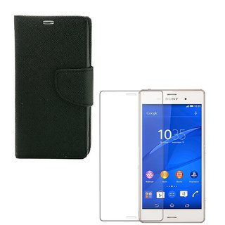 Ygs Diary Wallet Case Cover  For  Sony Xperia Z3-Black  With Tempered Glass
