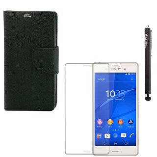 Ygs Diary Wallet Case Cover  For  Sony Xperia Z3-Black  With Tempered Glass  And Griffin Stylus Pen