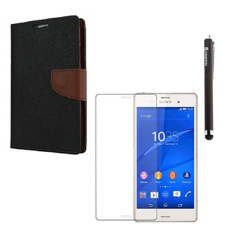 Ygs Diary Wallet Case Cover  For  Sony Xperia Z3-Black Brown With Tempered Glass  And Griffin Stylus Pen