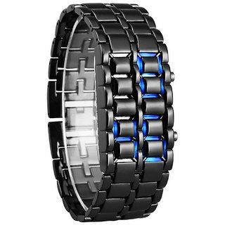 Stainless Steel Black Belt Blue LED Bracelet Sport Digital Watch - For Men, Boys