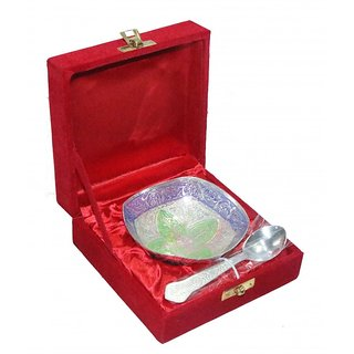 decorifyMe Gift Set of 2pcs Silver Plated Colored 1 Bowl 1 Spoon Engraved in a V