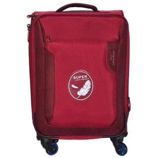 American Club 20 inch 4 Wheel Teflon Trolley Bag Maroon