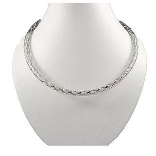 Oroca Arts Classy 17.5 Inch Rhodium Plated Italian Silver Chain