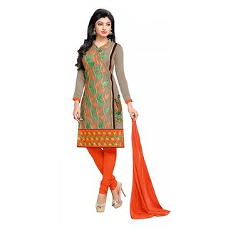 Khushali Presents Embroidered Chanderi Dress Material(Chikoo,Multi,Orange)