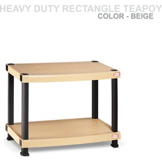 Heavy Duty Plastic Rectangle Teapoy Beige