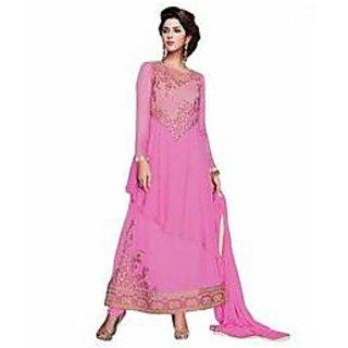 Designer georgette long pink suit