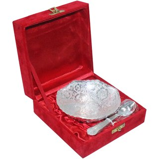decorifyMe Gift Set of Silver Plated Beautiful Bowl with Spoon Engraved in a Vel