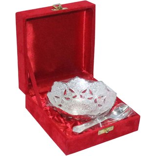 decorifyMe Gift Set of 2pcs Silver Plated Bowl decorative with Spoons Engraved i