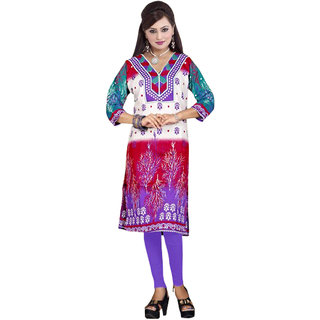 Women blue and red printed kurti