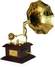 Handmade Vintage Dummy Brass and Wooden Gramophone Only For Home Décor ( 9 Inch X 5 Inch ,No of Pieces 1 ) By Fashion Bizz