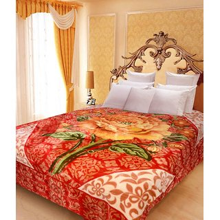 Akash Ganga Floral Double Bed Mink Blanket (BDK23)