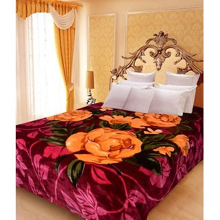 Akash Ganga Floral Double Bed Mink Blanket (BDK26)