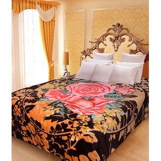 Akash Ganga Floral Double Bed Mink Blanket (BDK29)