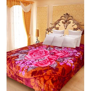 Akash Ganga Floral Double Bed Mink Blanket (BDK31)