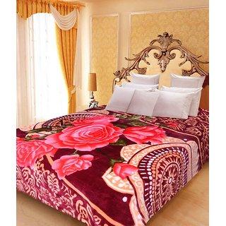 Akash Ganga Floral Double Bed Mink Blanket (BDK32)