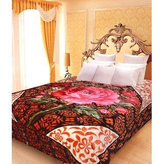 Akash Ganga Floral Double Bed Mink Blanket (BDK33)