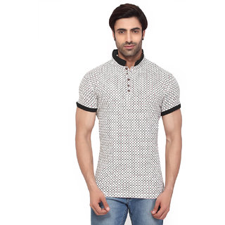 Rugby Mens Half Sleeve Henley  Collar In Cotton Spandex - Regular Fit -  with All Over Two Colour Print and Contrast Rib  Collar and Sleeve Hem T-shirt -O.WHITE (RG-16096) (2XL)