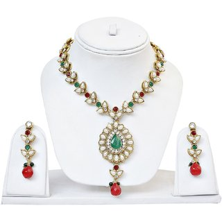 Red Green Stone  Pearl Set