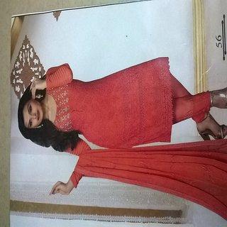 Georgette peach colour golden embroidered salwar suit piece with dupatta