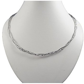 Oroca Arts Awesome 17.5 Inch Rhodium Plated Italian Silver Chain