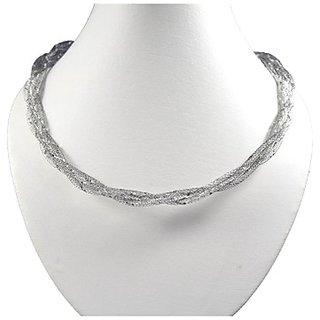 Oroca Arts Lovely 17.5 Inch Rhodium Plated Italian Silver Chain