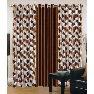 Attractivehomes solid polyester door curtain set of 3