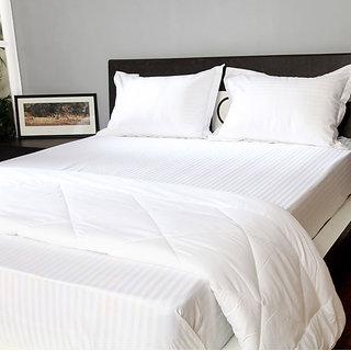 Welhouse India 200 TC Cotton Self Striped white  flat Single  Bedsheet Set(2 +2)