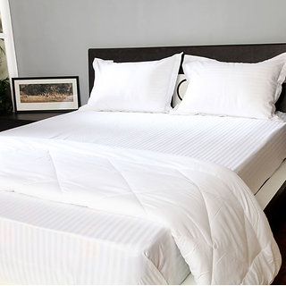 Welhouse India  200 TC   Cotton Self Striped white  Double flat  Bedsheet