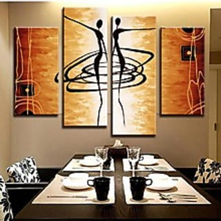 New Arrival! MODERN ABSTRACT OIL PAINTING CANVAS ART Abstract Figures Golden Dec