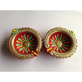 2,( Red and Gold) Terracotta Traditional Diya